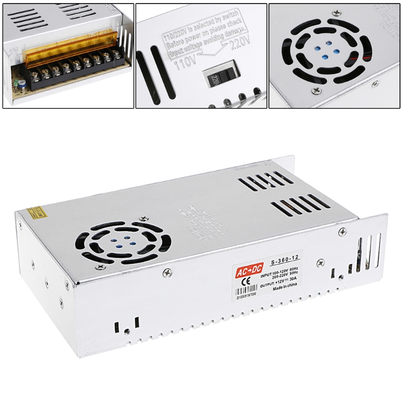 AC 100-220V To DC 12V 30A 360W Switch Power Supply Driver Adapter LED Strip Light-3Z 12v 3 2a 40w switch power supply driver for led light strip 110v 220v