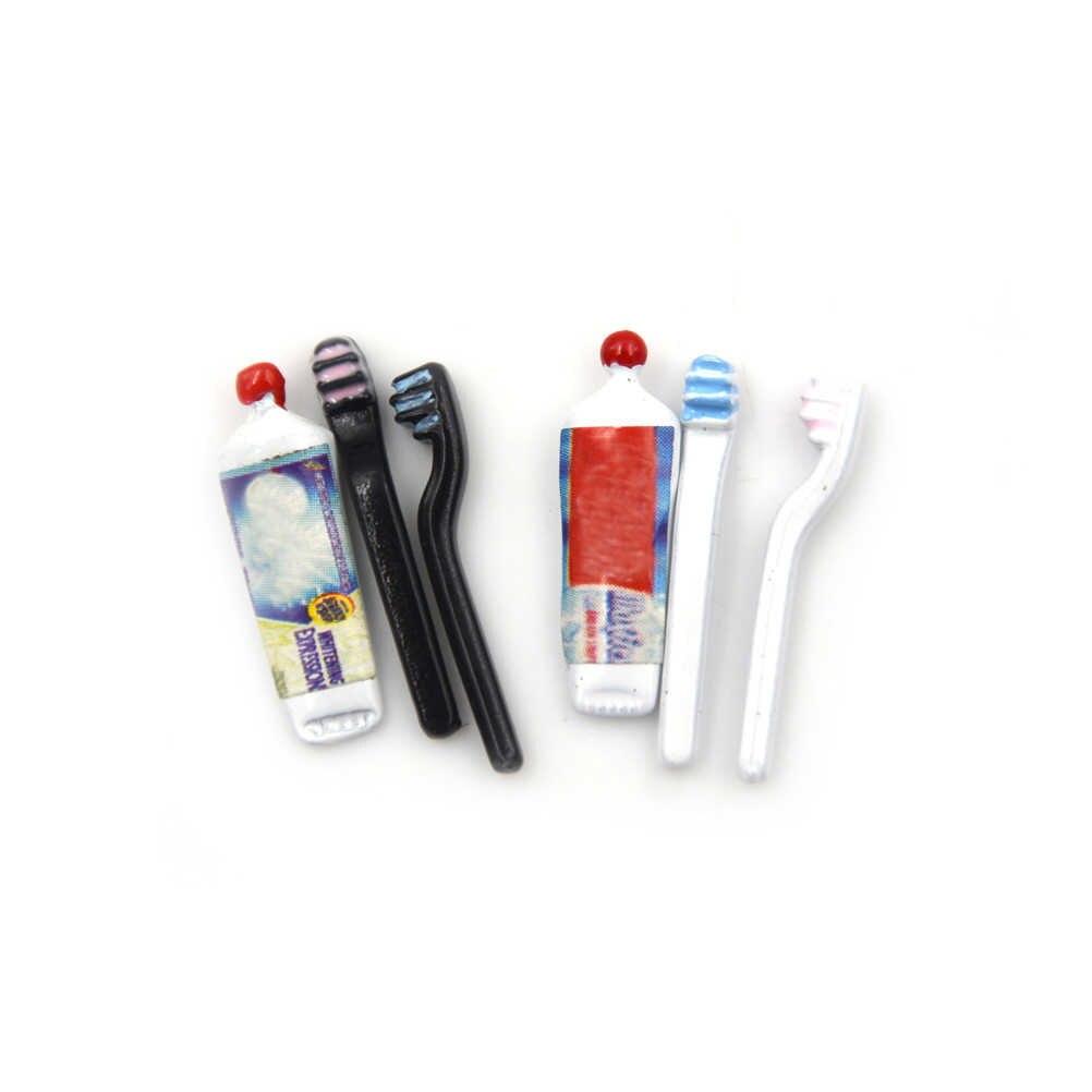 1/3/4 sztuk/zestaw Dollhouse tubka do pasty do zębów szczoteczka do zębów łazienka na akcesoria dla lalek dziewczyny prezenty zagraj w zabawki domowe