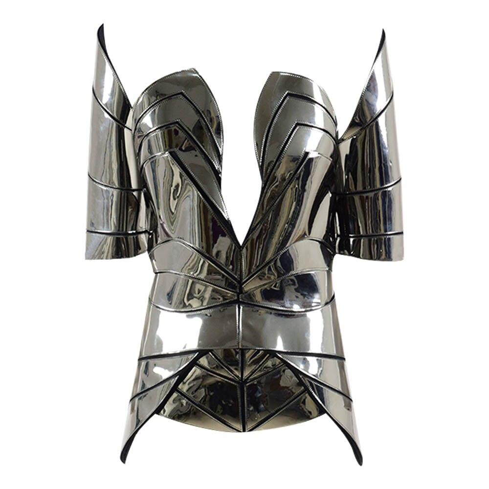 Chrome cavaliere corsetto robot futuristico cosplay corsetto sci fi costume corsetto burning man steampunk Costume di Scena