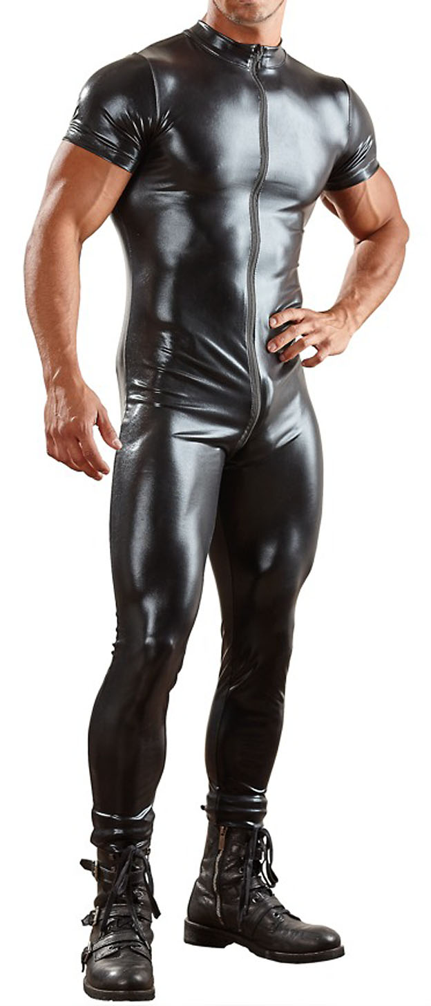 PU Leather Men Bodysuit Zipper Open Crotch Faux Latex Male Erotic Jumpsuit Club Stage Costume Gays Sex Lingerie Adult Plus size in Teddies Bodysuits from Novelty Special Use