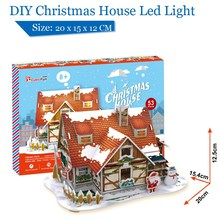 Cubicfun Christmas House with LED Light P647h DIY Doll House Toy 3D Paper Craft Models Puzzle Toys