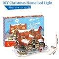 Cubicfun casa com luz LED de natal P647h DIY casa de boneca de brinquedo 3D Paper Craft modelos brinquedos de quebra-cabeça