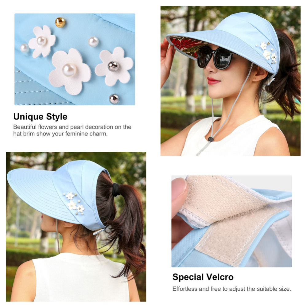 VBIGER Women Anti UV Sun Hat Foldable Summer Beach Hat Wide Brim Visor  Ladies Sunproof Empty Top Hats with Adjustable Strap-in Sun Hats from  Apparel ... 70a8811b5ead