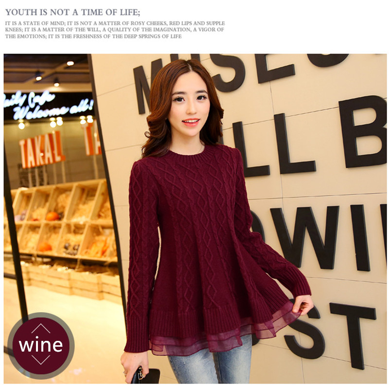Autumn Winter Elegant Women Sweater Knitted Slim Fit Pullover Organza Patchwork Dress O-neck Long Sleeve Elastic Top Free Size