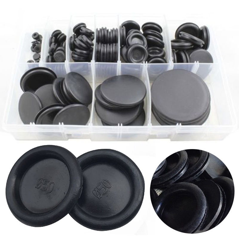 130pcs Cable Blanking Grommets Black Rubber Closed Grommet Assorted Box 6mm-50mm Diameter Electrical Wire Gasket Tool Mayitr 220pcs 6mm inner diameter black white dual side open hole plug cable wiring rubber protector ring seal grommet gasket