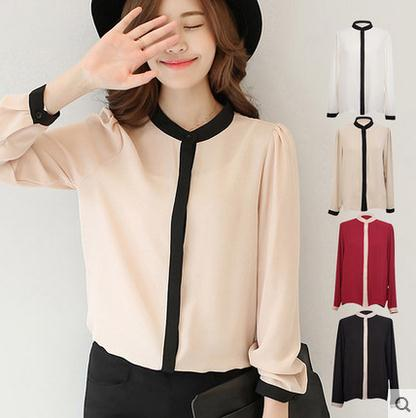 Women Tops and Blouses 2020 new fashion Puff Sleeve Shirts Women Ladies Spring Chiffon Blouse Women Stand Blouses Female CJJ0058