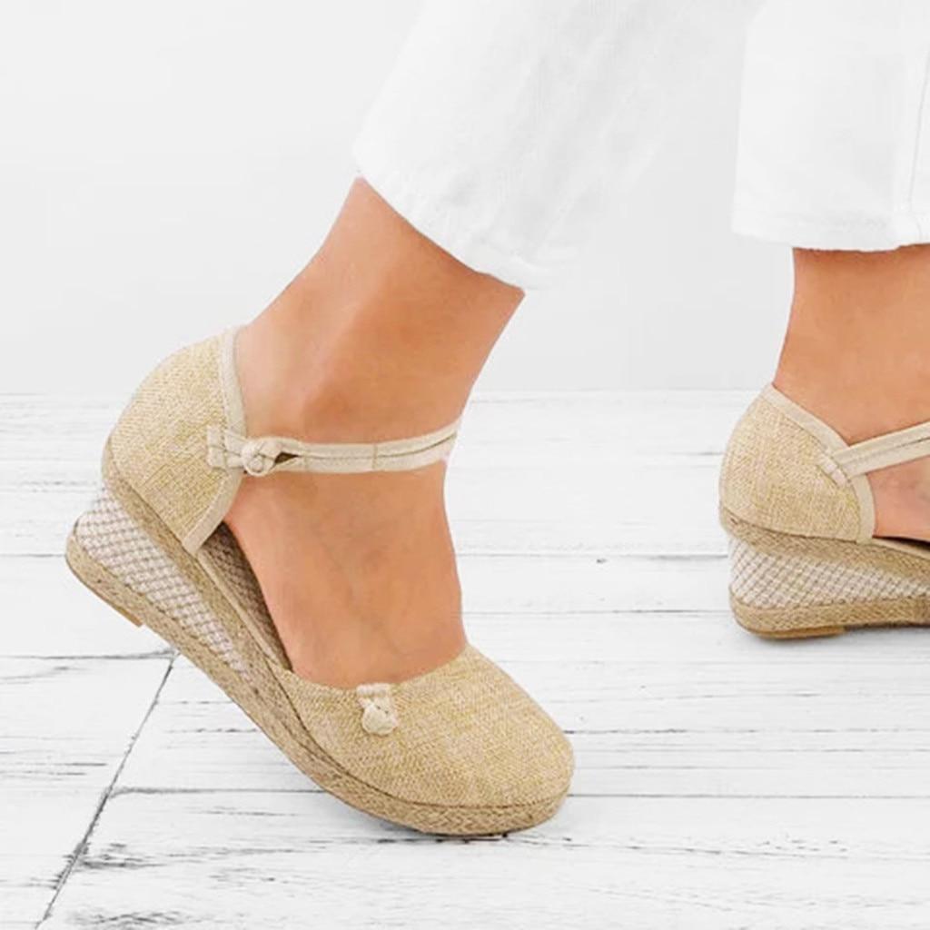 JAYCOSIN Casual Sandals Shoes Wedge Femme Lady Retro Linen Jul5 Canvas Round-Toe Leisure