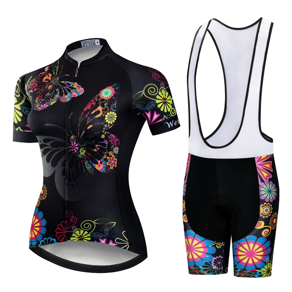 2018 Pro Team Short Sleeve Women Cycling Jersey Set Bike Bib Shorts MTB Ropa Ciclismo Riding Wear Bicycle Clothes Black Pink