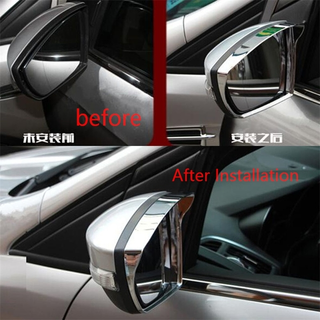 FIT FOR FORD ESCAPE KUGA 2013 2014 2015 2016 CHROME SIDE MIRROR RAIN GUARD VISOR COVER REAR VIEW DOOR MIRROR TRIMS ACCESSORIES