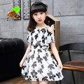 Девушки летом принцесса цельный платье 2017 ребенка девушка летом шифона цветок печати с коротким рукавом детская одежда семейные платья