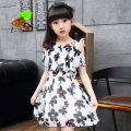 girl summer princess one-piece dress 2017 child girl summer chiffon print flower short-sleeve Children's clothing Family dresses