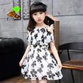 girl summer princess one-piece dress 2017 child girl summer chiffon print flower short-sleeve Children's clothing Family dresses