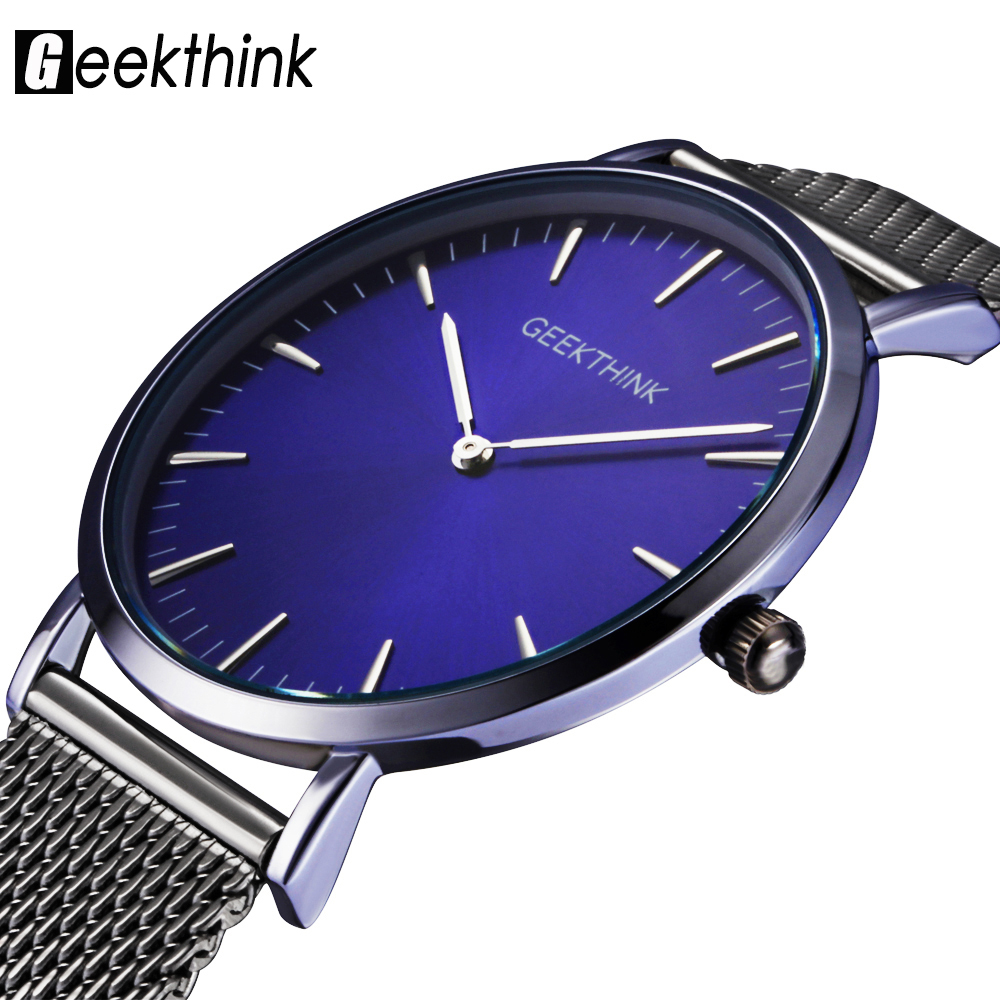GEEKTHINK Top Luxury Brand Quartz watch men Casual Japan quartz-watch stainless steel Mesh strap ultra thin clock male New цена 2017