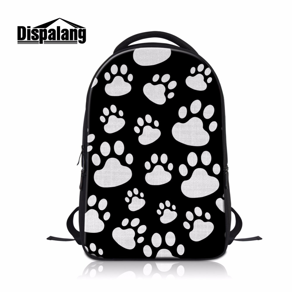 Dispalang Beautiful Laptop Backpacks for Students Foot Mark 3D-Printing on Book Bags Computer Back Bag for Teenager Boy's Gift