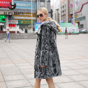 JEPLUDA Winter Coat New Women Real Fur Jacket Inclined Zipper Cap Lamb Fur Coats Genuine Leather Sashes Slim Real Fur Coat Косуха