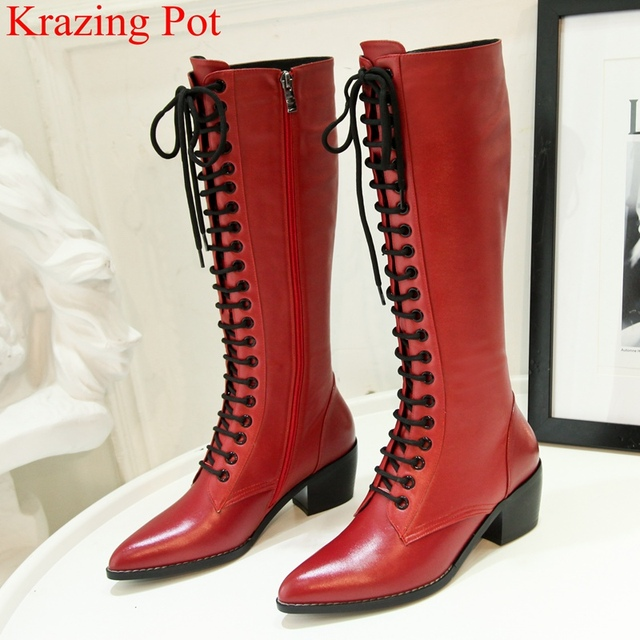 52d38373c0f7 Special Offers 2018 superstar pointed toe zipper cow leather knee-high boots  solid square heel women thigh high boots gladiator winter shoe L95