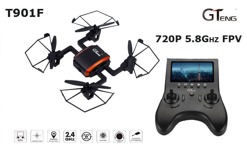 GTeng T901F 720P HD Camera 5.8 GHz FPV Real-time Headless 4CH 6 Axis Gyro RC Quadcopter with One Key Return Mode RTF jxd 510g 4ch 6 axis gyro 5 8g fpv rc quadcopter drone with 2 0mp camera 2 4ghz with one key return cf mode 3d flip drone rtf