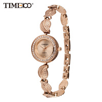 Time100 Women Watches Quartz Watch Stainless Steel Leaf Gold Bracelet Ladies Casual Wrist Watches Relogios Femininos