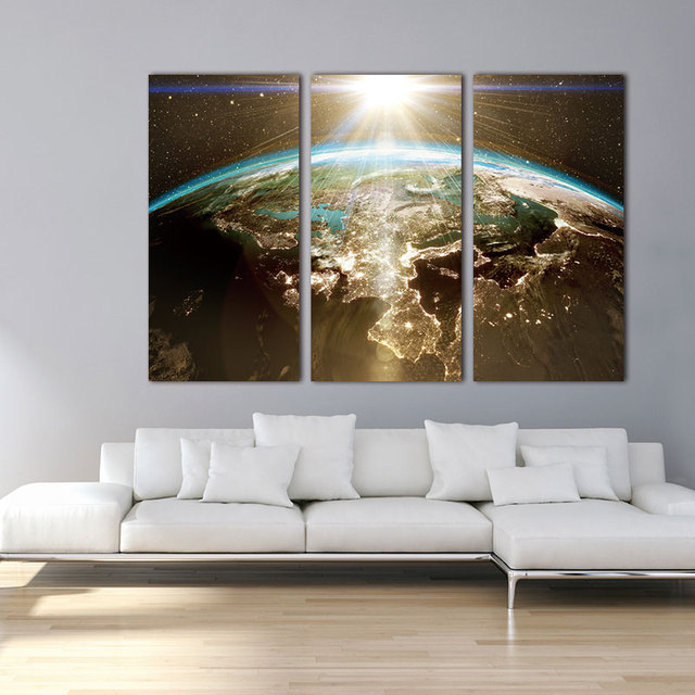 Wall Art Framework HD Prints Poster Pieces World Map Canvas - 3 piece world map wall art