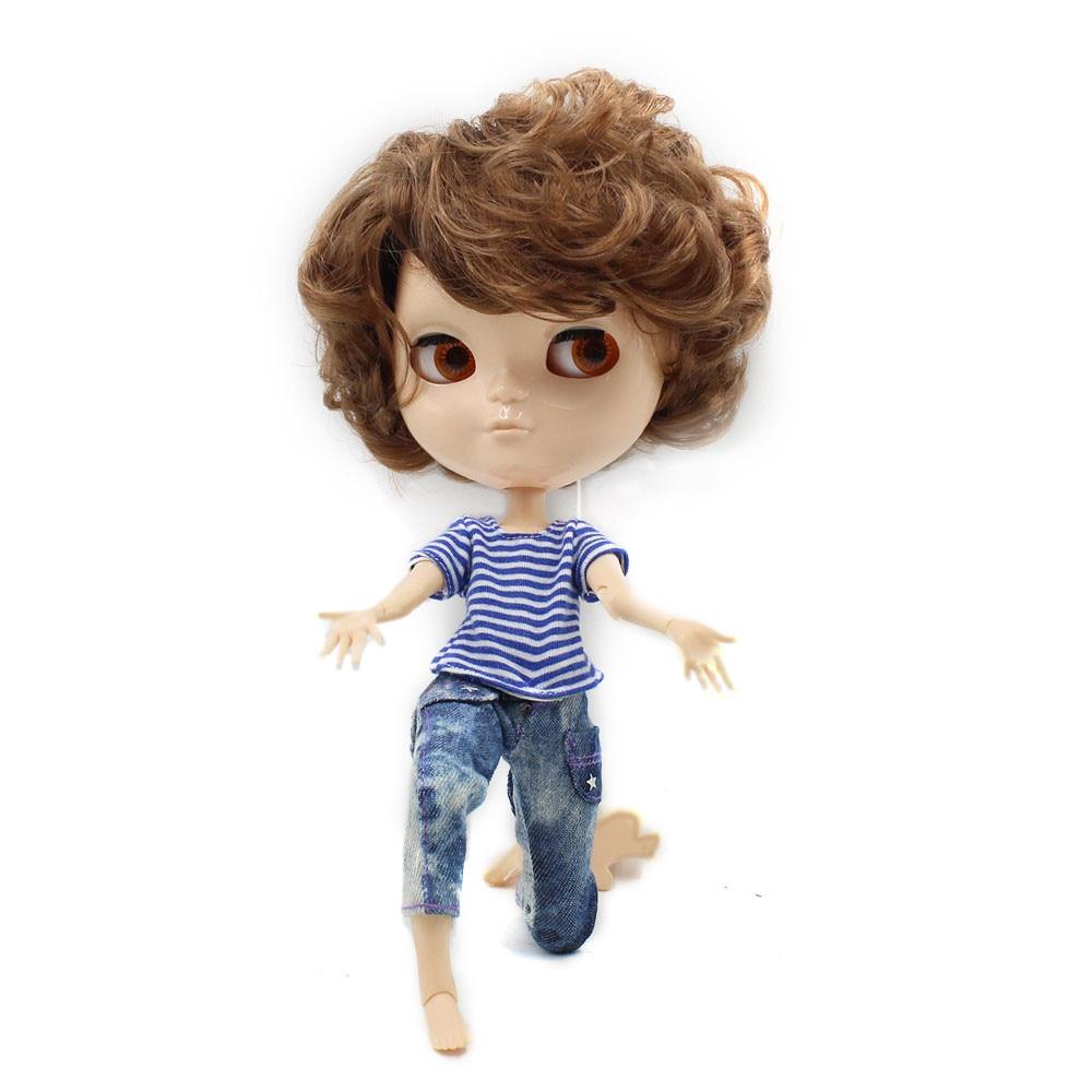 Ледяной куклы бесплатная доставка мальчик тела короткие каштановые волосы без макияжа 1/6 30 см