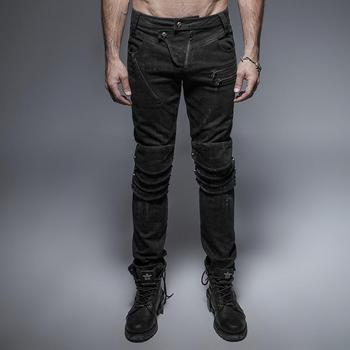 Punk Rave Men's Unique Armor Knee Washing Jeans K-239