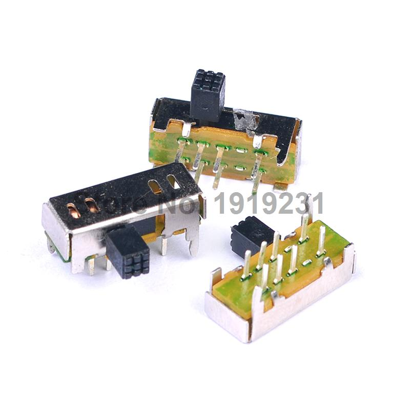 20PCS High Knob 8 Pin 3 Position 2P3T Vertical Slide Switch 0.5A 50V DC PCB new 50pcs lot miniature slide switch spdt 3 pin pcb 2 position 1p2t side knob handle high 3mm sk12d07vg3