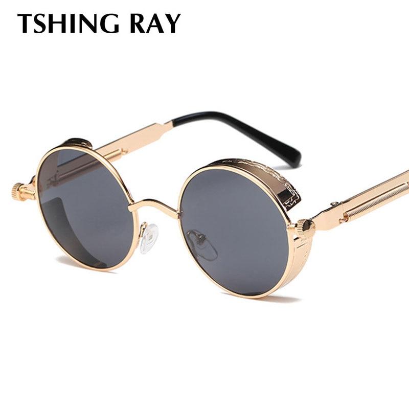 f5c51f0d5c9a 2019 High Quality Brand Designer Gothic Steampunk Round Metal Sunglasses  Men Women Mirrored Circle Glasses Vintage