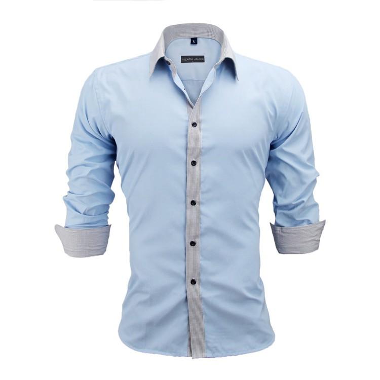 HTB1x8J4KVXXXXbiXpXXq6xXFXXXf - New Arrivals Slim Fit Male Shirt Solid Long Sleeve British Style Cotton Men's Shirt N332