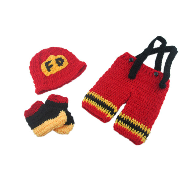 Red Fireman Manual Crochet Boys Clothes 0 6 Months Baby Sweater