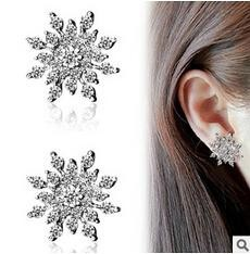 High Quality New Fashion Luxury Charm 2015 Sale Gril Gift Vintage CZ Rhinestone Snowflake Earrings For Women Xmas Gift Party