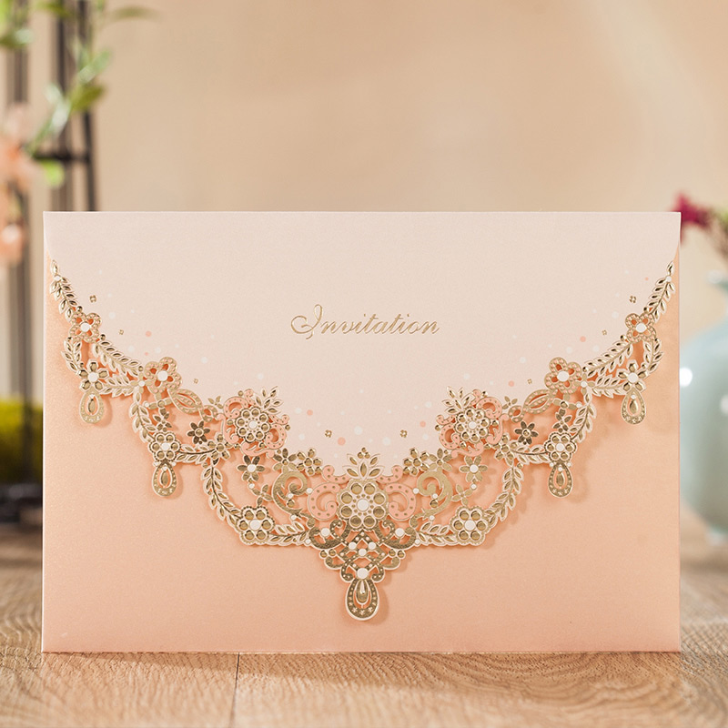 Wishmade 1pcs Blush Glittery Invitations Cards Kit With Shiny Champagne Envelopes Lace For Wedding Invitations Engagement
