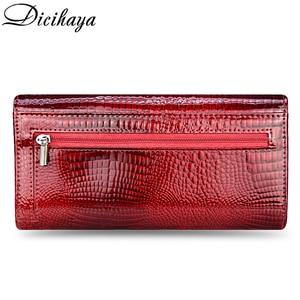 Image 3 - DICIHAYA ของแท้หนังกระเป๋าสตางค์ผู้หญิง Fallow ยาวคู่ซิปกระเป๋าสตางค์คลัทช์กระเป๋ากระเป๋าถือสีแดงจระเข้กระเป๋า