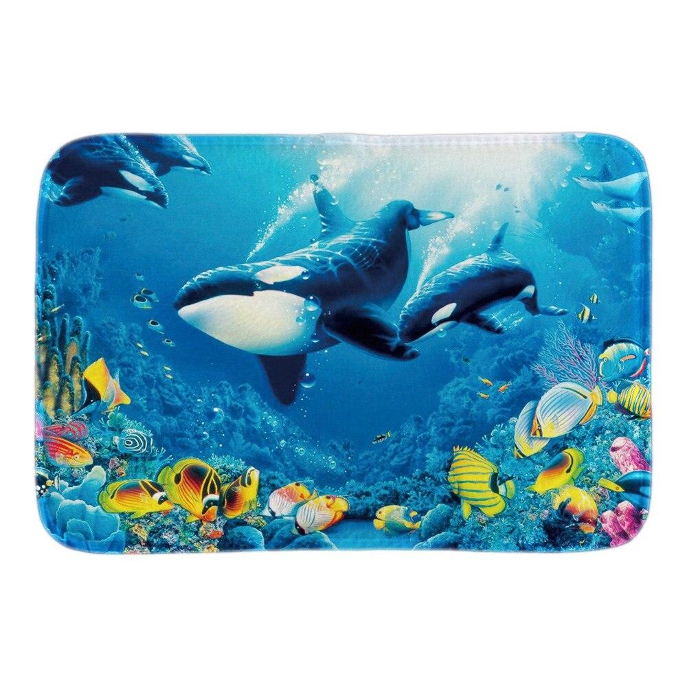 수중 열대어 현관 귀여운 상어 홈 실내 야외 도어 매트 부드러운 가벼움 짧은 봉제 직물 욕실 매트