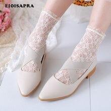 [Eioisapra] transparente sexy rendas reto borda meias coreano princesa meias criativas mulheres japão harajuku moda calcetines mujer