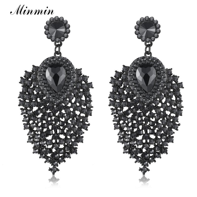 Minmin 2018 New Vintage Leaves Drop Earrings for Women Trendy Teardrop Black Color Crystal Fashion Long Earrings Party MEH1031 pair of trendy faux crystal oval earrings for women