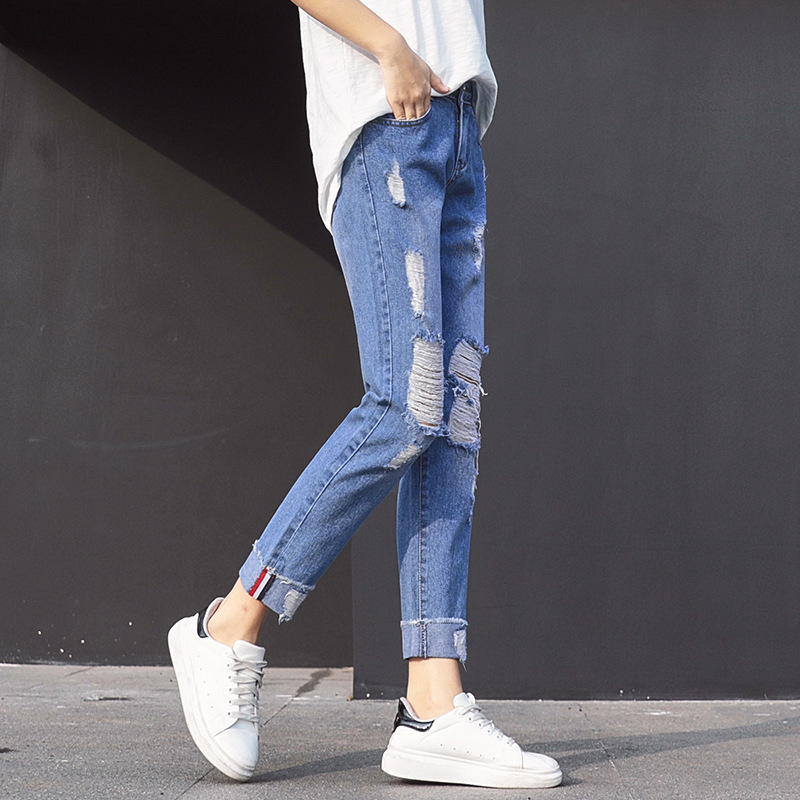 New women's jeans trousers Spring-Summer fashion popular Ankle-Length Baggy pants for women with the hole and Cuffs the new spring and summer 2016 hole