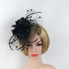 New Style Flower Hairbands Bride Fashion Feather Headdress Fascinator Party Banquet Perform Headwear Hairpin Cover The Face Veil