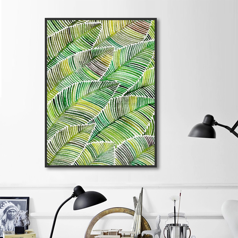 Nordic Decoration Home Art Posters and Prints Leaf Green Plants Canvas Painting Art Wall Pictures for Living Room No Frame in Painting Calligraphy from Home Garden