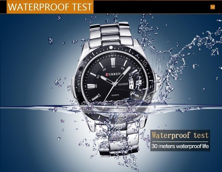 Mens Watches Top Luxury Brand CURREN 18 Men Full Steel Watches Quartz Watch Analog Waterproof Sports Army Military WristWatch 21