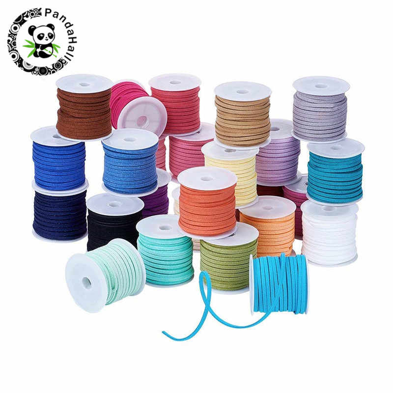 3mm 4mm 5mm 5m/roll Mixed Color Faux Suede Cord DIY Lace Leather Rope Thread Cloth Shoes Jewelry Making Finding Accessories