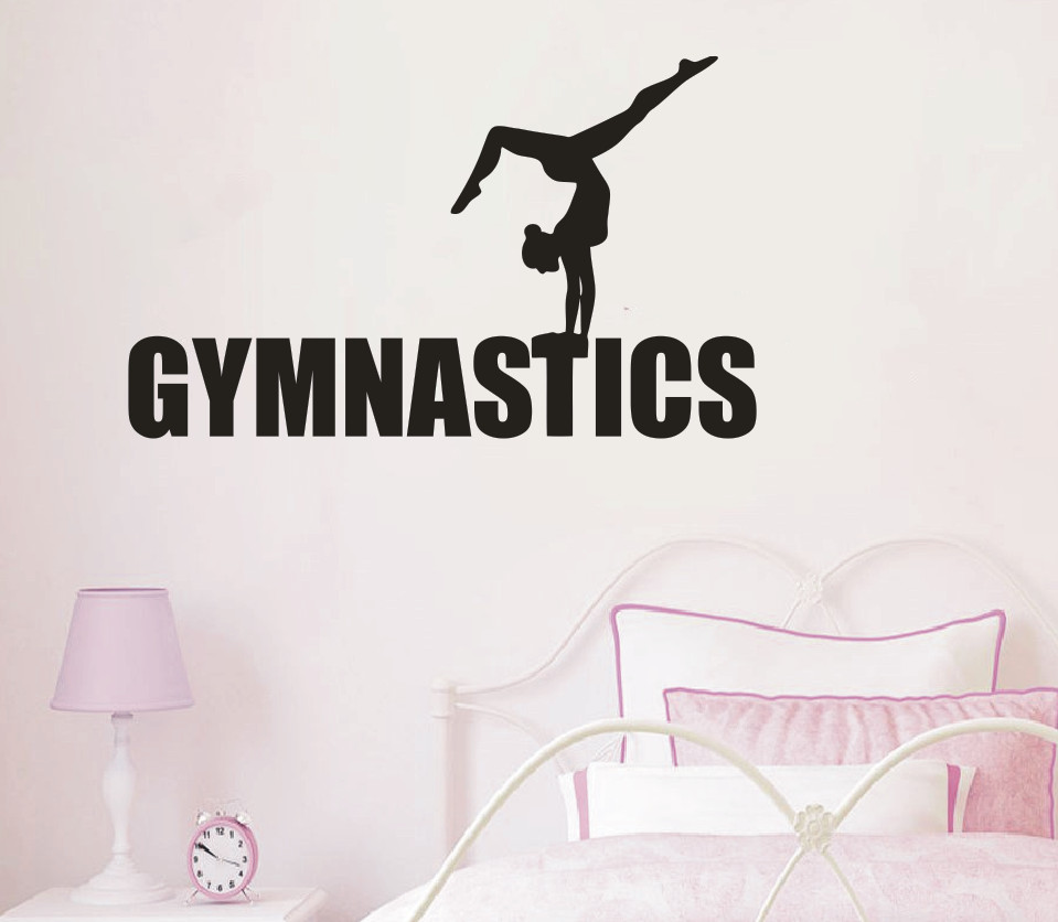 Drop Ship Home Decoration Gymnastics Girls Yoga Wall Sticker Living Room Decor Sports Gym adesivo Art Sports Poster NY-220 ...