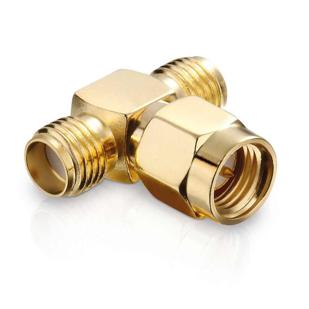 SMA Male to Female Adapter SMA Plug Male To 2 SMA Jack Female T Type RF Connector Triple 1M2F Brass Gold Plating 59 brass freon high pressure refrigerator of copper adapter connector female inner diameter 24mm to male 11mm