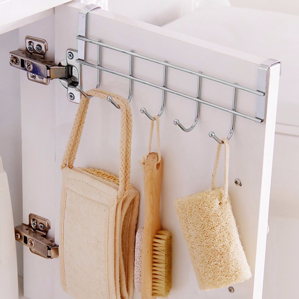 Eco-Friendly Silver Metal Over Door Home Bathroom Kitchen Coat Hook Hanger Towel Hanger Robe Hook Wall Mounted Hooks & Rails