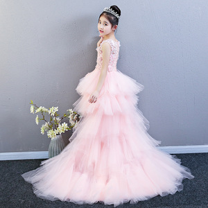 Image 5 - Performance Show Prom Flower Girl Wedding Dresses Kids Trailing Layered  Party Princess Birthday Dress First Communion Gown