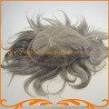 Парик шнурка мужчины база 7*9 дюймов шелковый топ с швейцарский шнурок в перед естественный Индийские волосы мужской парик бесплатно доставка