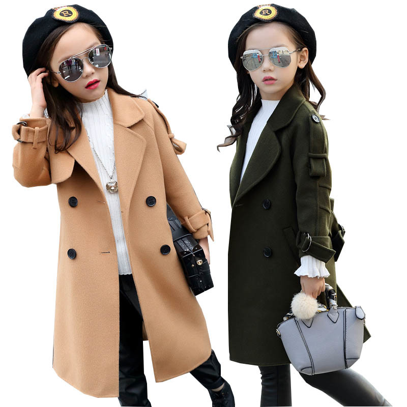 все цены на Girls Wool Coat Girls Clothes FLeece Thick Overcoat Kids Jacket for Girls Winter Coat Outerwear Children Clothing 4-15 years