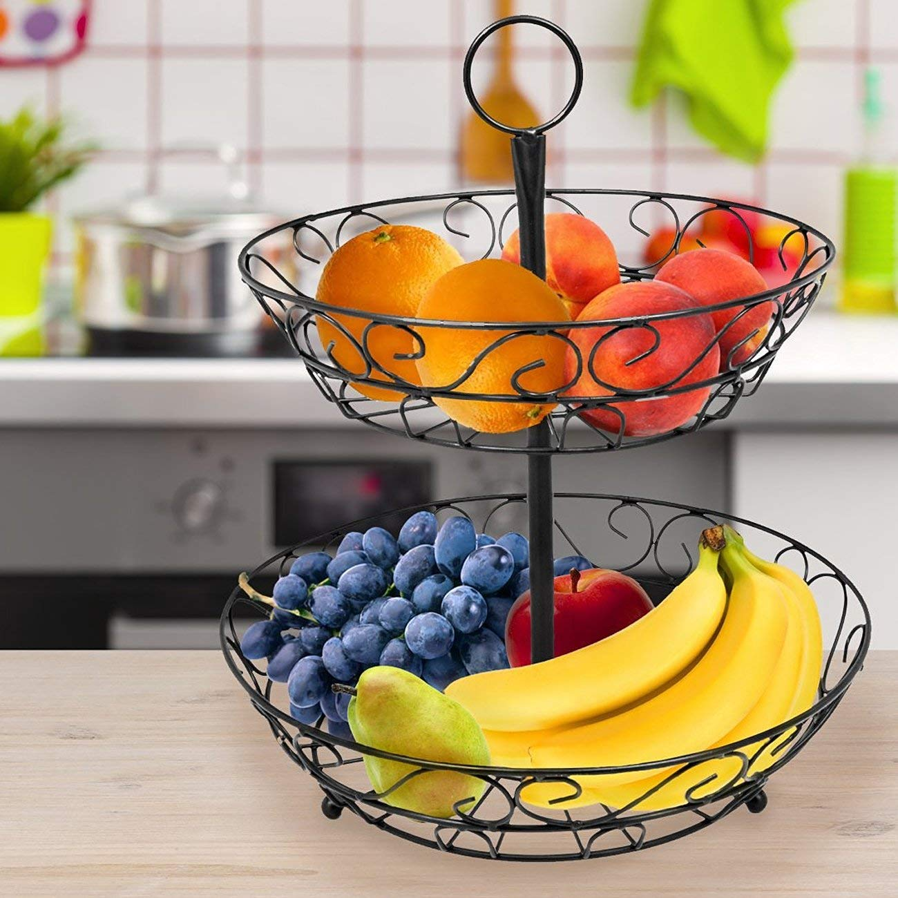 2 Tier Countertop Fruit Basket Holder Decorative Bowl Stand Basket Perfect for Fruit Vegetables Snacks Household Items in Storage Baskets from Home Garden