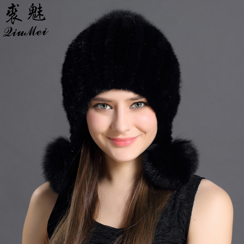 Winter Women Caps Real Mink Fur Pure Color Nice Knitting Protected Ear And Head Cap With Cute Pompoms Female Russian Thick Hat