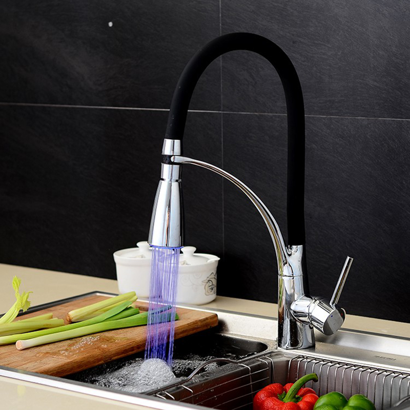 KitchenVidric Faucet Black And Chrome Finish Basin Sink LED Faucet Deck Mount Pull Out Dual Sprayer Nozzle Hot Cold Mixer Taps