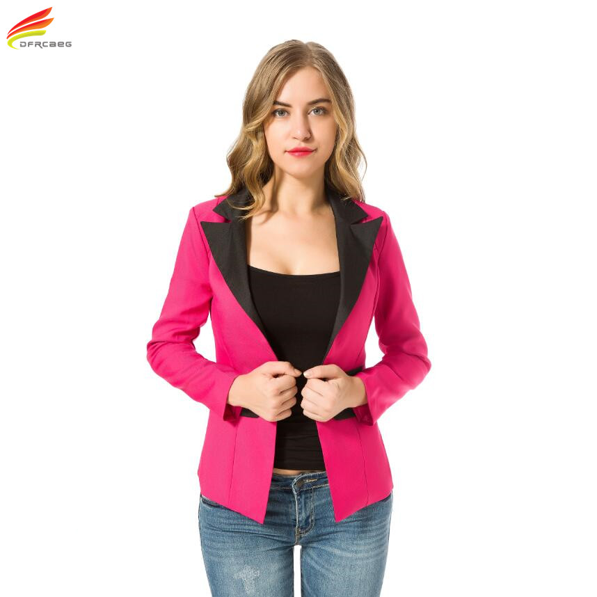 Fashion Patchwork Blazer Women 2017 New Arrival Casual Slim Long Sleeve Single Button Ladies Office Wear Blazer Feminino Jackect